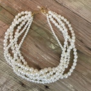 Jewelry - 5 strand faux pearl necklace white